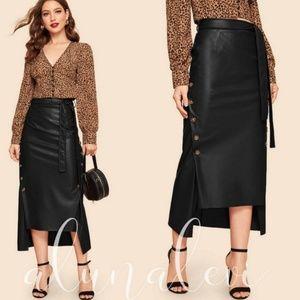 🆕 IN STOCK! Black Vegan Leather Midi Skirt